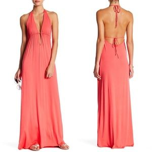 NEW Clayton Skyler Coral Open Back Maxi Dress